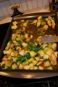 Roasted Potatoes, Leeks, and Arugula
