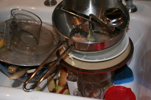 That's a lot of dishes for a pitiful excuse of a dinner.
