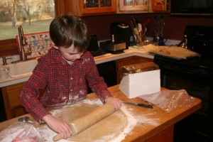 Rolling out pie dough for Thanksgiving