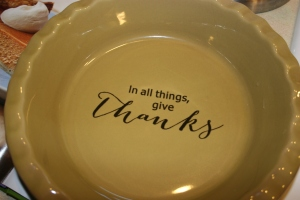 Our Thanksgiving pie plate, a gift from our lovely friend Suzanne